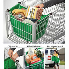 2 Pack Foldable Shopping Tote Bags Grocery Grab Bags Fabric Carrier Clip To Cart