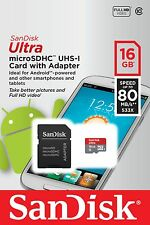 SanDisk 16GB Ultra Micro SDHC MicroSDHC Memory Card 80MB/s Class 10 + SD Adapter