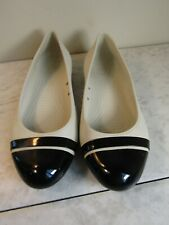 Crocs Cap Toe Flats White/Black Toe Women's Slip On Shoes Size 7