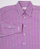 * BRIONI * Purple Striped Cotton Dress Shirt~ Large