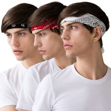 Set of 3 Colour Bandanas Black Red White Paisley Pattern Print Bandana Men's Rad