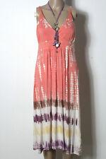 KAVI Kleid Gr. 36 rosa wadenlang Hippie India Empire Batik Träger Kleid