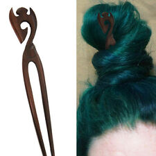 1PC Handcarved Organic Exotic Double Prong Wood Hair Stick Pointed Crown Curls