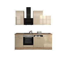 Küche Küchenzeile mit Geschirrspüler Einbauküche Elektrogeräte 220cm creme beige