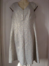 OYSTER CHAMPAGNE METALLIC DRESS,  TEXTURED, FIT & FLARE, SIZE 14