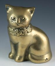 Vintage 4.75 Inch Brass Cat Figurine Dated 1981 Made In Korea