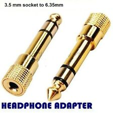 Headphone Adapter GOLD PLATED 3.5mm Socket to 6.35mm Jack Plug Audio convertor