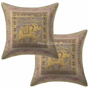 Traditional Lounge Sofa Cushion Covers 16x16 Brocade Jacquard Pillow Cases