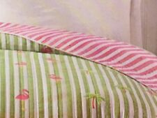 Flamingo Palm Tree Twin Quilt Comforter Tropical Reversible Beach House New