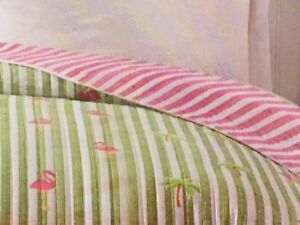 Flamingo Palm Tree Twin Quilt Comforter Tropical Reversible Beach House Summer
