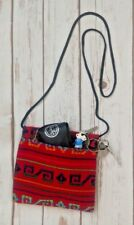 Crossbody bag red with Aztec lines and zipper boho chic style