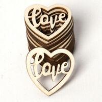 Mother's Day 15pcs  Wooden Pendants Ornaments Love Heart Wedding Favors DIY