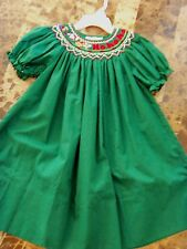 NEW ROSALINA COLLECTION CHRISTMAS DRESS smocking FANCY green bishop 24 MONTHS