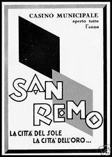 PUBBLICITA' 1928 CASINO' MUNICIPALE DI SANREMO CITTA' DEL SOLE  DELL' ORO GAMBLE