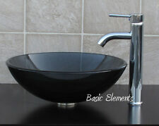 Bathroom Clear Black Glass Vessel Vanity Sink  With Chrome Faucet  combo 12.5C03
