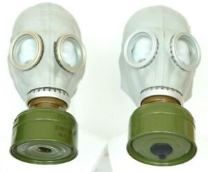 Set of two Authentic Soviet Russian Gas MASK GP-5 with FILTERS exotic gray grey