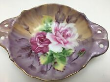 RUBY ROSES Hand Painted China Plate Bowl Wall Plate