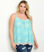 NEW..Stylish Plus Size Singlet Top with Allover Floral Fine Embroidery.Sz16/1XL