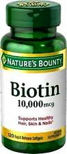 BIOTIN - 10,000 mcg / 120 Softgels - Hair, Skin & Nails - Nature's Bounty