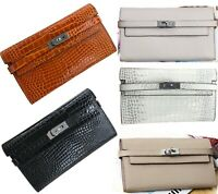 Real Leather Clutch Bag Long Fold Wallet Multi Compartment Designer Purse Travel