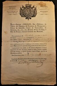 KING LOUIS PHILIPPE I AUTOGRAPH ON HUNTING LICENSE ISSUED TO Mr. RAIMBAULT 1828