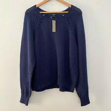 NEW J Crew XL Cotton Pullover Pointelle Long Sleeve Sweater Navy Blue $98