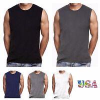 Men HEAVY WEIGHT Crew neck T-Shirt Sleeveless Muscle Tank Hip Hop Gym Big & Tall