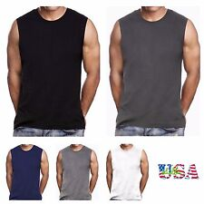 Mens HEAVY WEIGHT Crew neck T-Shirts Sleeveless Muscle Tee Tank top Fashion Gym