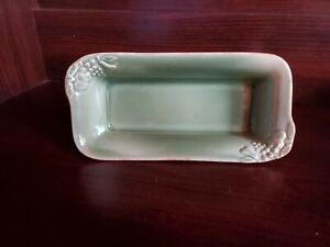 Ceramic Butter Dish Green withFruit Designs in Corners