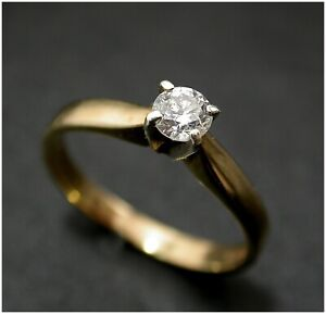 Solitaire Diamond Engagement Ring size M 1/2 9ct Gold 0.25ct real diamond