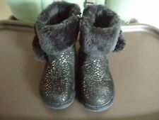 Jumping Beans Coco Black Sparkle Pom Pom Boots Faux Fur Toddler Girl Size 9