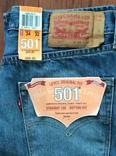Levi's Men's New 501 2312 34X30 Ripped Blue Jeans Orig Straight Leg Button Fly