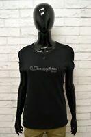 Maglia CHAMPION Donna Taglia L Maglietta Shirt Woman Manica Corta Slim Fit Nero