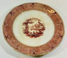 Mellor Venables Ningpo Hand Colored Pink Transferware Plate 1834-1851. ( #1994).
