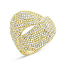 1.28Ct 14K Yellow Gold Pave Set Diamond Wide Cocktail Bypass Right Hand Ring