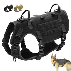 Military Tactical Dog Harness No Pull Harness Large Breeds Training MOLLE Vest