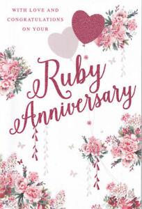 Ruby Wedding Anniversary Glitter Greetings Card - Nigel Quiney 40th fortieth