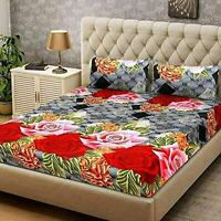 Floral Print Cotton Double Bedsheet Bedspread With 2 Pillow Covers