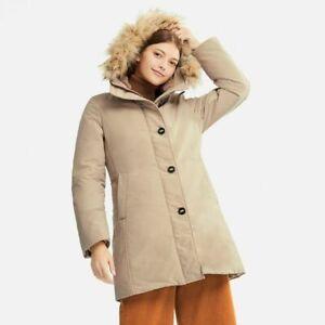 Uniqlo Women Ultra Warm Down Short Coat Parka Heattech Jacket Fur Hood Beige XL