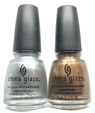 China Glaze Nail Polish PLATINUM GOLD & SILVER Lacquer (627-628)