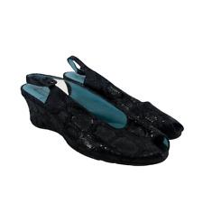 Thierry Rabotin Womens Shoes Slingback Peep Toe Wedge Sandal Black SnakeSkin 7.5