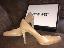 """Nine West Women's Rocha Shoes 4"""" natural nude beige platform Classic Pumps Sz 10"""