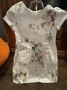 Zara Girls White Floral Embroidery Mini Pleated Waist Short Sleeve Dress 9/10