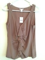 5952) NWT J CREW 0 taupe brown 100% silk blouse tank top cami fitted side zip