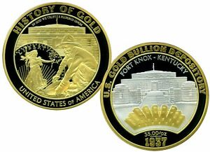 U.S. GOLD DEPOSITORY - FORT KNOX COMMEMORATIVE COIN PROOF VALUE $129.95