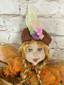"""VTG Pixie Elf Flower Fairy Bisque Butterfly Doll 17"""" CICELY MARY BARKER"""