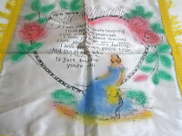Vintage Souvenir Pillow Sham Sweetheart Poem Lady Sits in Heart