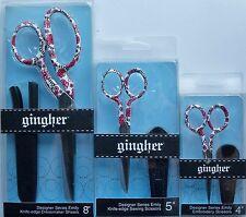 "Limited Edition Gingher ""Emily"" Designer Series SET of Knife Edge Scissors"