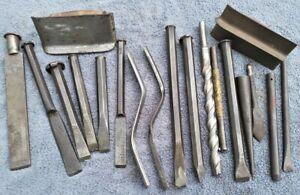 19p Vintage Mason Tool Lot Cold Chisel Concrete Drill Edger Trowel Brick Jointer