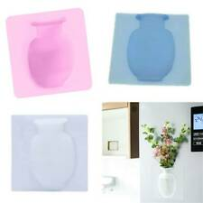 Wall Hanging Magic Sticky Bottle Silicone Vase Container Flower Pot Home Decor